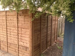 Renewed fence made and installed by Les Balls.